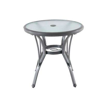 Commercial Grade Aluminum Grey Round Outdoor Bistro Table - Outdoor Bistro Tables - Patio Tables - The Home Depot