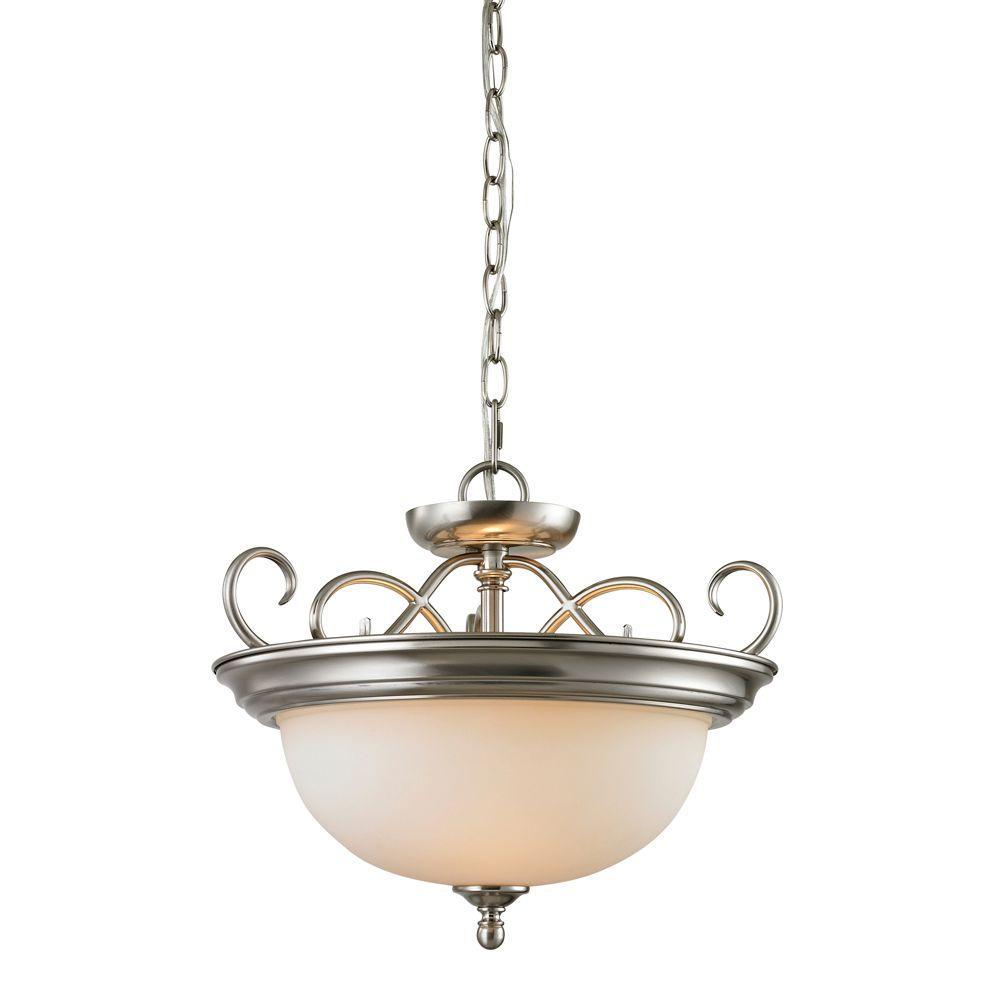 Chatham 2-Light Brushed Nickel Ceiling Semi-Flush Mount Light