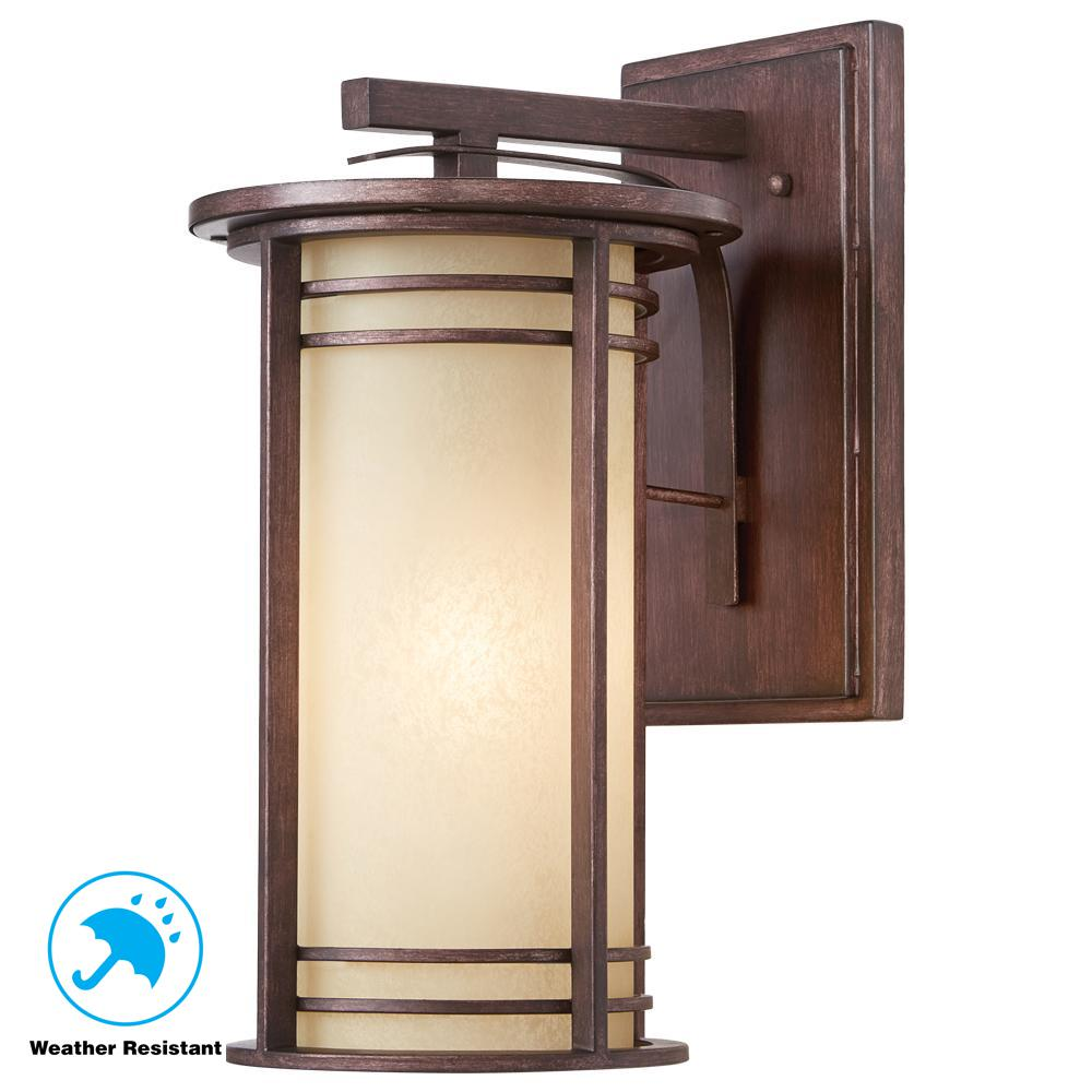 Home decorators collection 17 5 in 1 light bronze outdoor wall lantern with amber glass 16981 the home depot