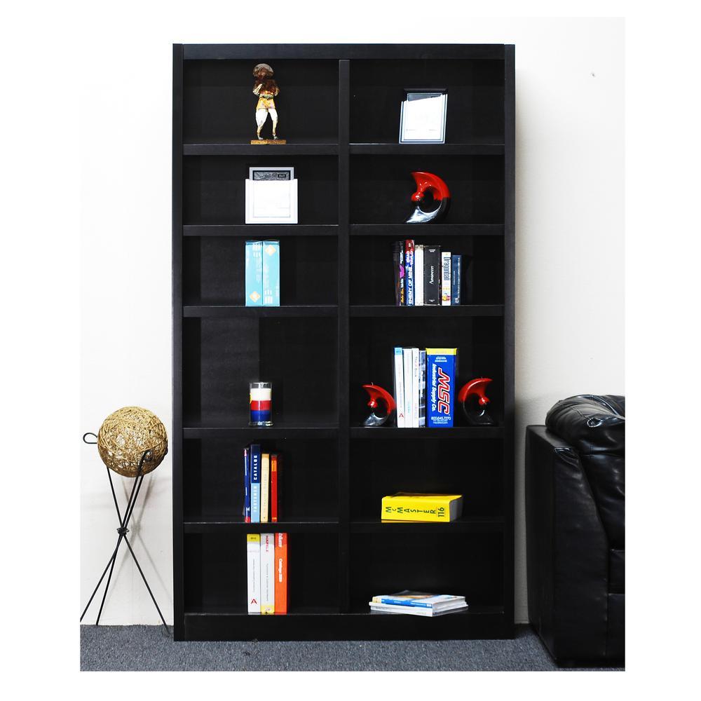 Midas Double Wide 12-Shelf Bookcase in Espresso