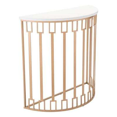 Bars White and Gold Console Table