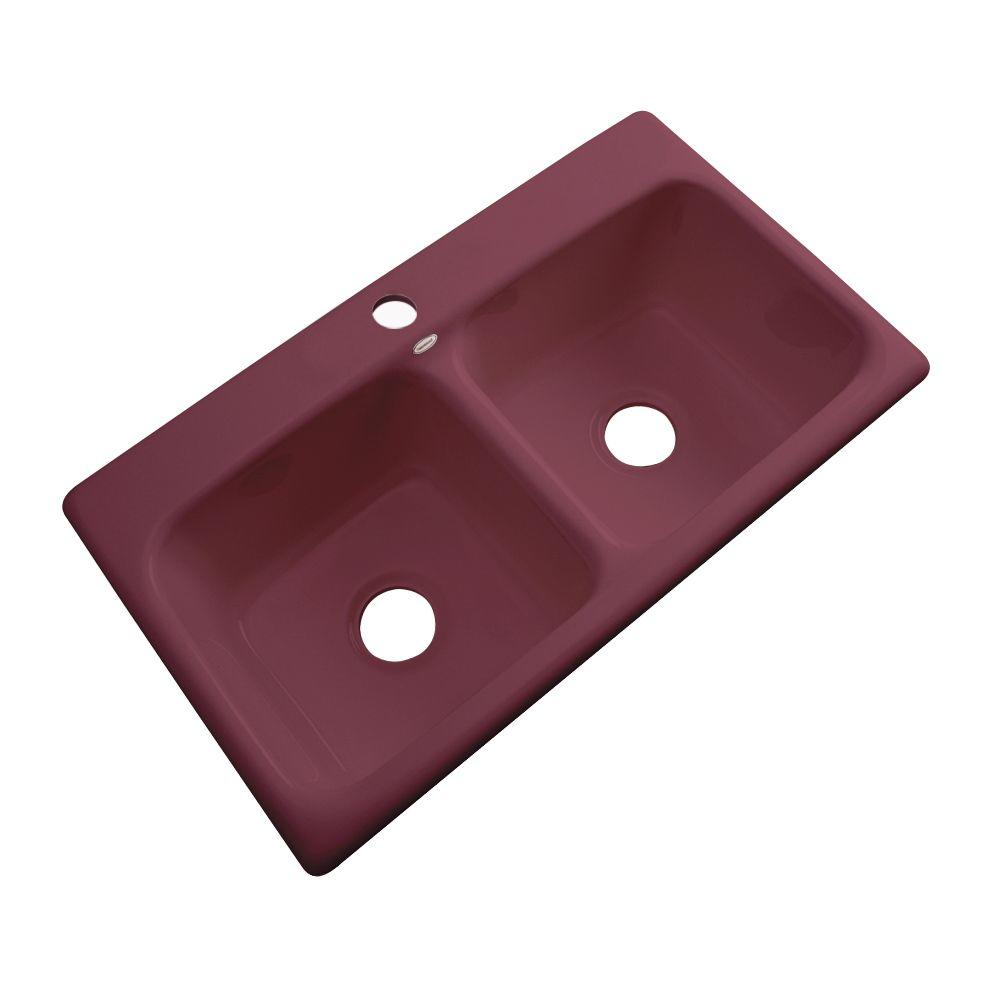 Thermocast Brighton Drop-In Acrylic 33 in. 1-Hole Double Bowl Kitchen Sink in Raspberry Puree