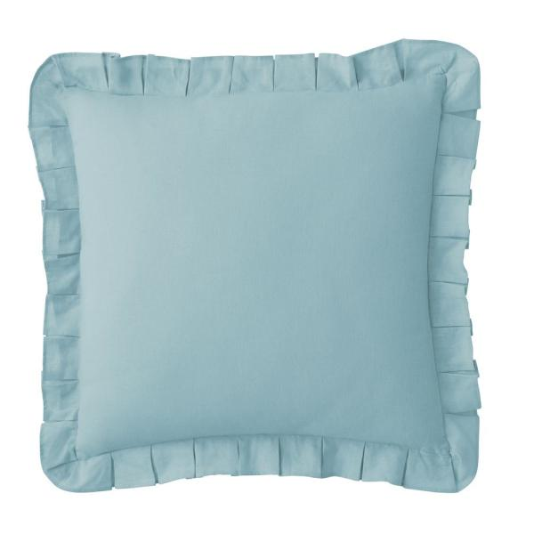 The Company Store Linen 18 in. Cotton Solid Sky Blue Square