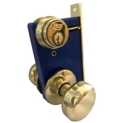 Brass Iron Gate Mortise Entry Gate Left Hand Lock Set with 2-1/2 in. Backset and 2 SC1 Keys