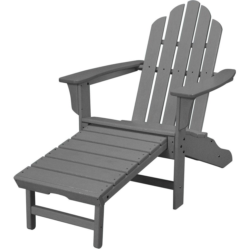 Grey All-Weather Plastic Outdoor Adirondack Chair with Hide-Away Ottoman