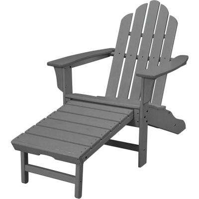Superior Grey All Weather Plastic Outdoor Adirondack Chair With Hide Away Ottoman