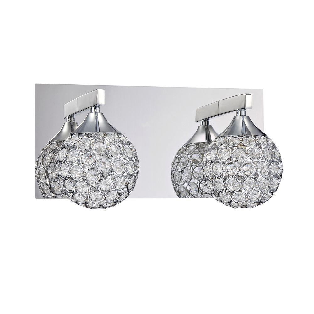 Designers Choice Collection CRYS Series 2-Light Chrome Bath Light