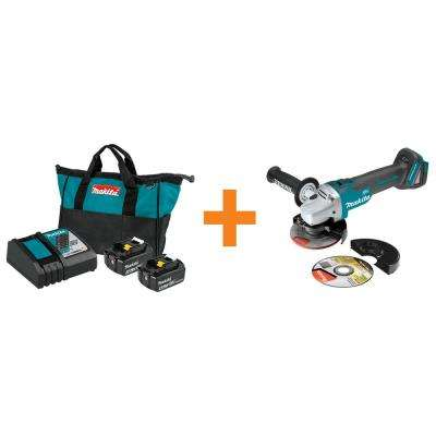 18-Volt LXT Battery and Rapid Optimum Charger Starter Pack (4.0 Ah) w/Bonus 18-Volt LXT Brushless Cut-Off/Angle Grinder