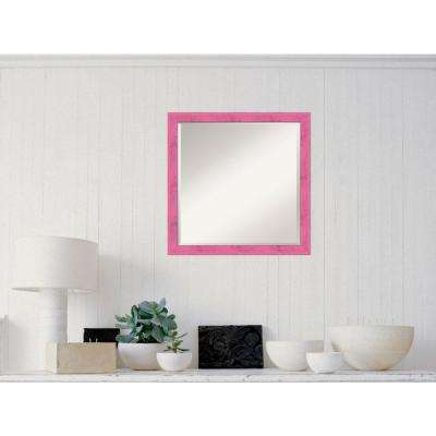 Petticoat Pink Rustic Wood 22 in. W x 22 in. H Distressed Framed Mirror