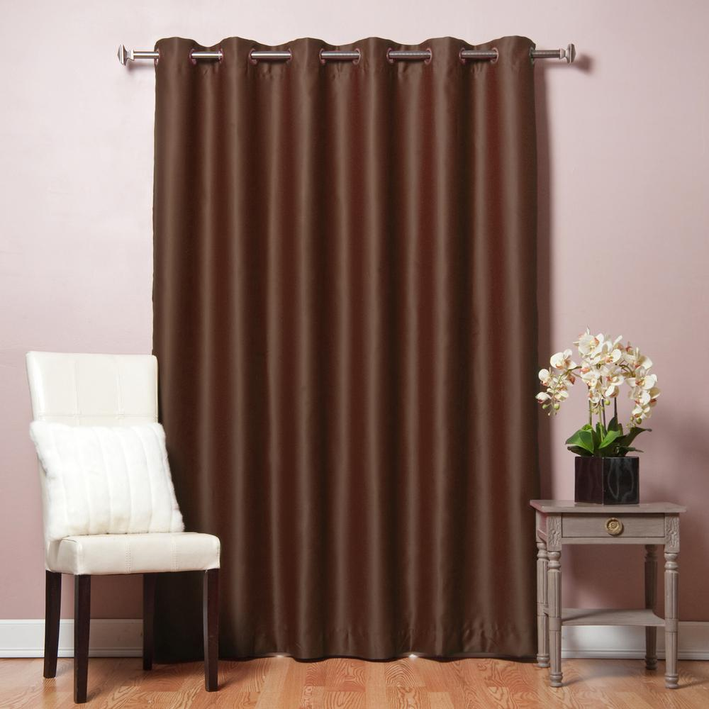 100 in w x 84 in l chocolate wide flame retardant blackout curtain panel fr grom 100x84 choco. Black Bedroom Furniture Sets. Home Design Ideas