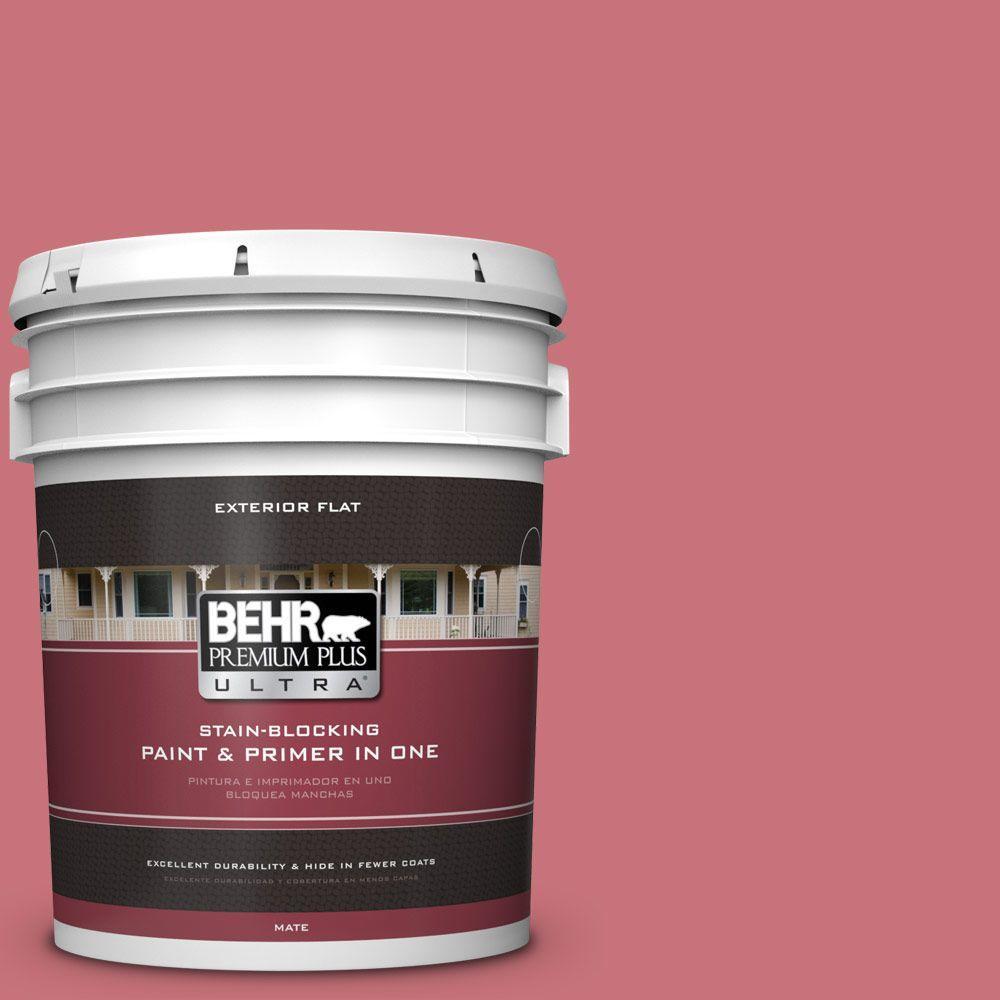BEHR Premium Plus Ultra 5-gal. #140D-5 Rose Chintz Flat Exterior Paint