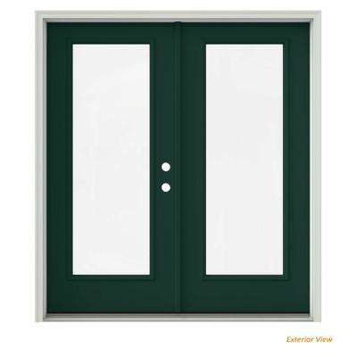 72 in. x 80 in. Hartford Green Painted Steel Left-Hand Inswing Full Lite Glass Active/Stationary Patio Door