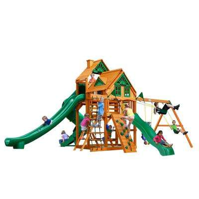 Great Skye II Treehouse Wooden Swing Set with 3 Slides and Picnic Table