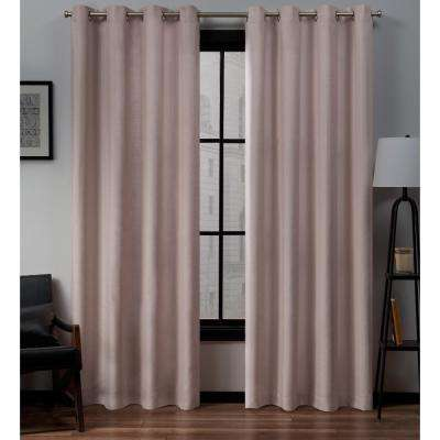 Loha Linen Grommet Top Curtain Panel Pair in Blush - 54 in. W x 84 in. L (2-Panel)