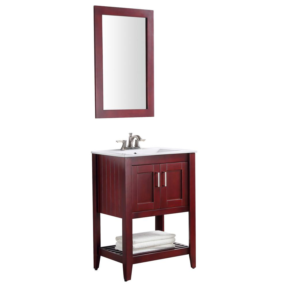 ANZZI Mosset 24 in. W x 34 in. H Bath Vanity in Rich Red Cherry with Ceramic Vanity Top in White with White Basin and Mirror