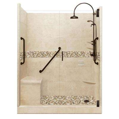 Roma Freedom Luxe Hinged 34 in. x 60 in. x 80 in. Right Drain Alcove Shower Kit in Brown Sugar and Old Bronze Hardware