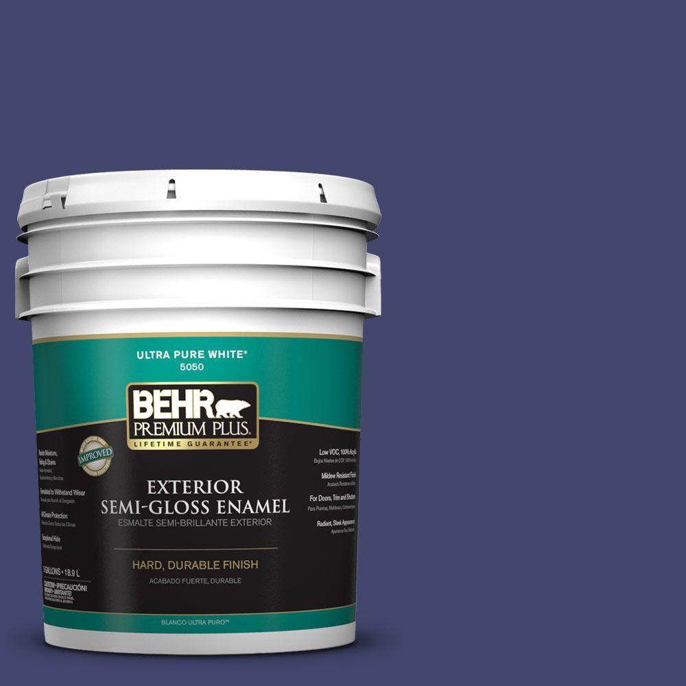 BEHR Premium Plus 5-gal. #T11-19 Starlit Night Semi-Gloss Enamel Exterior Paint