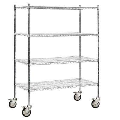 60 in. W x 80 in. H x 24 in. D Industrial Grade Welded Wire Mobile Wire Shelving in Chrome