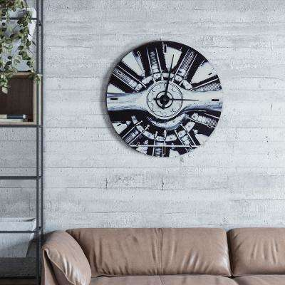 Simplex Rules Shades of Grey Oversized Glass Wall Clock
