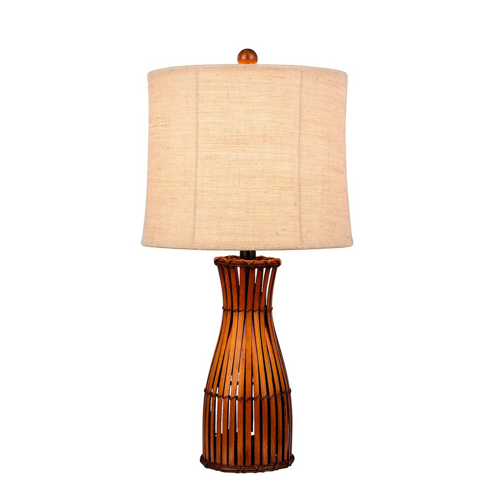 Charming Fangio Lighting 26 In. Brown Bamboo Table Lamp