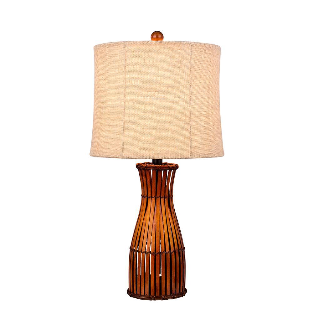 Brown Bamboo Table Lamp