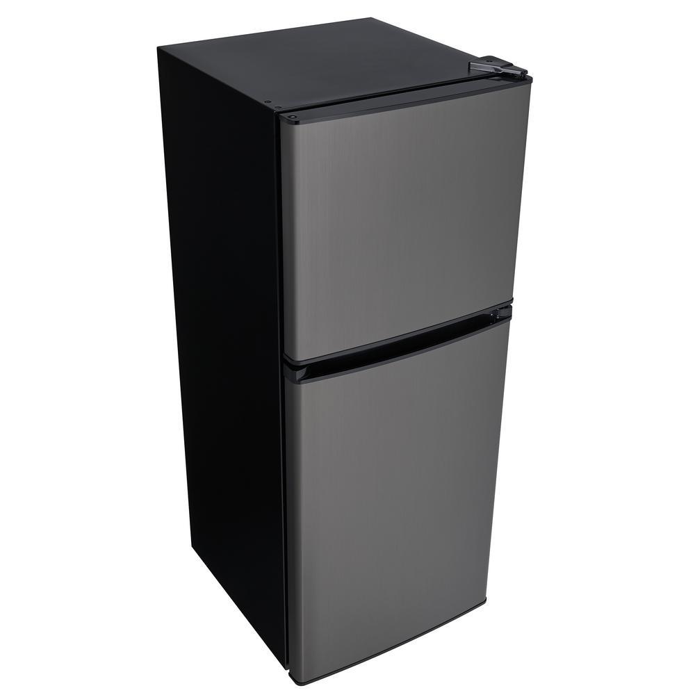 2 Door Mini Refrigerator In Black Stainless Steel