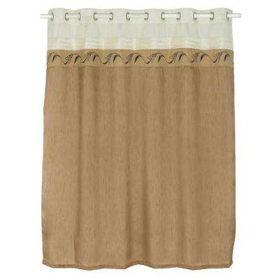 Abilene Embroidered 72 in. Taupe Shower Curtain