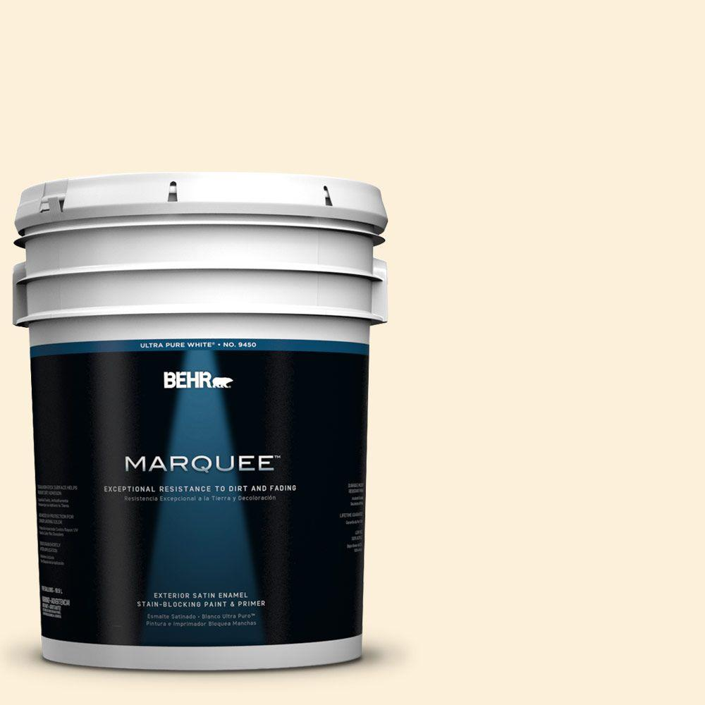 BEHR MARQUEE 5-gal. #310A-1 Ivory Invitation Satin Enamel Exterior Paint