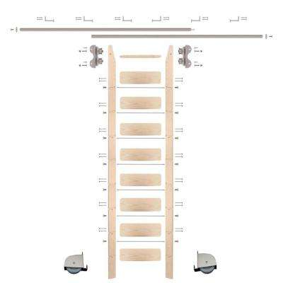 9 ft. Maple Library Ladder (10 ft. Reach) Satin Nickel Contemporary Rolling Hardware 12 ft. Rail and Horizontal Brackets