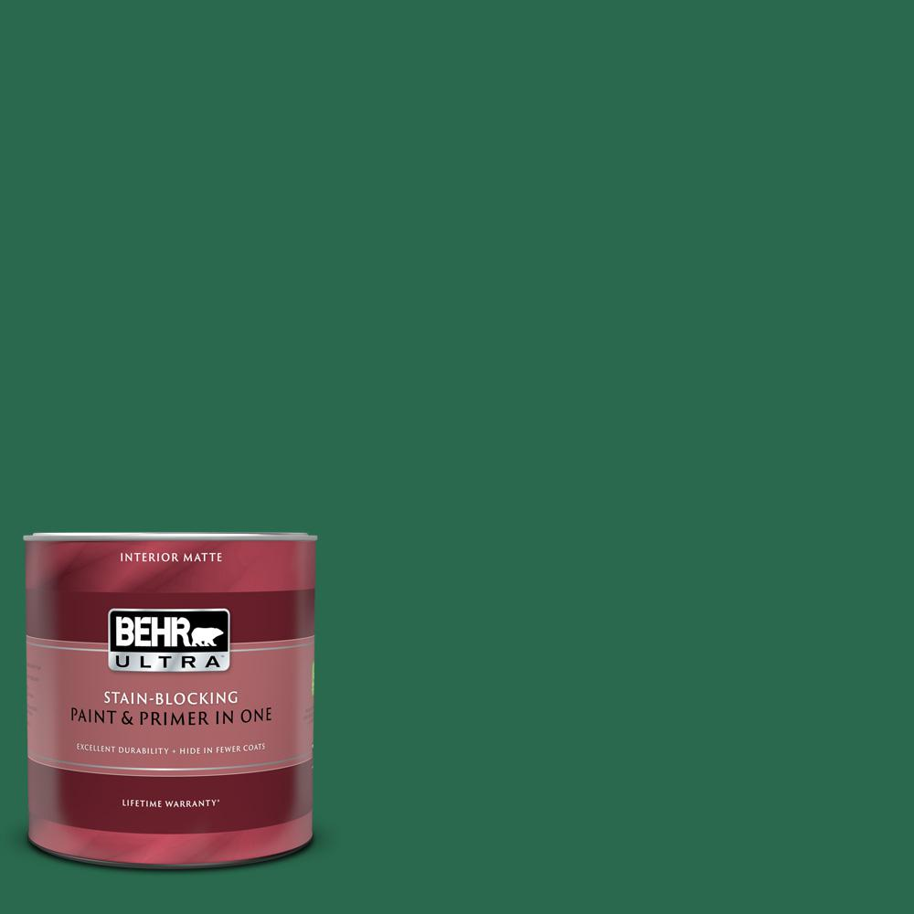 BEHR ULTRA 1 qt. #S-H-460 Chopped Chive Matte Interior Paint and Primer in One