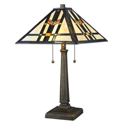 Tiffany Geo Hex Styled 23 in. Bronze Table Lamp
