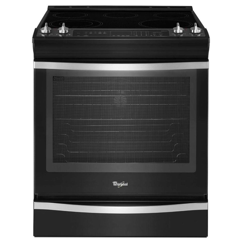 Whirlpool 6.2 cu. ft. Slide-In Electric Range with Self-Cleaning True Convection Oven in Black Ice