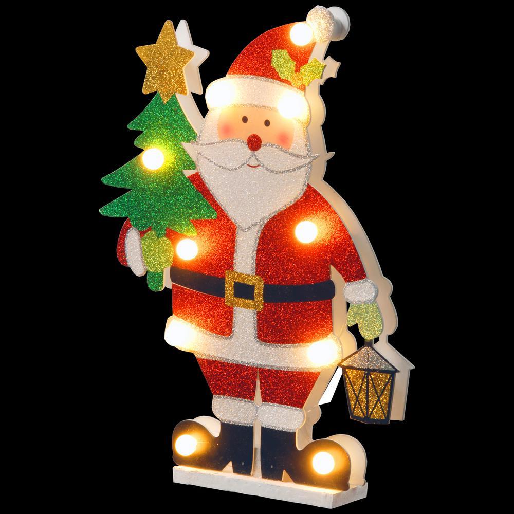 Pre-Lit 17 in. Wooden Santa
