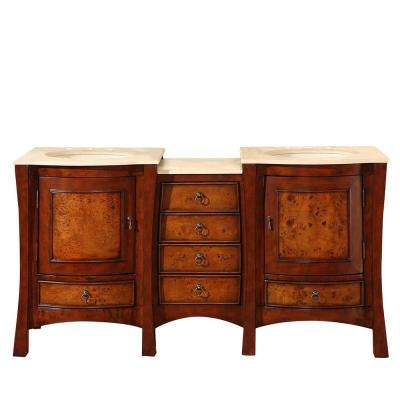 67 in. W x 22 in. D Vanity in Cherry with Marble Vanity Top in Crema Marfil with Ivory Basin