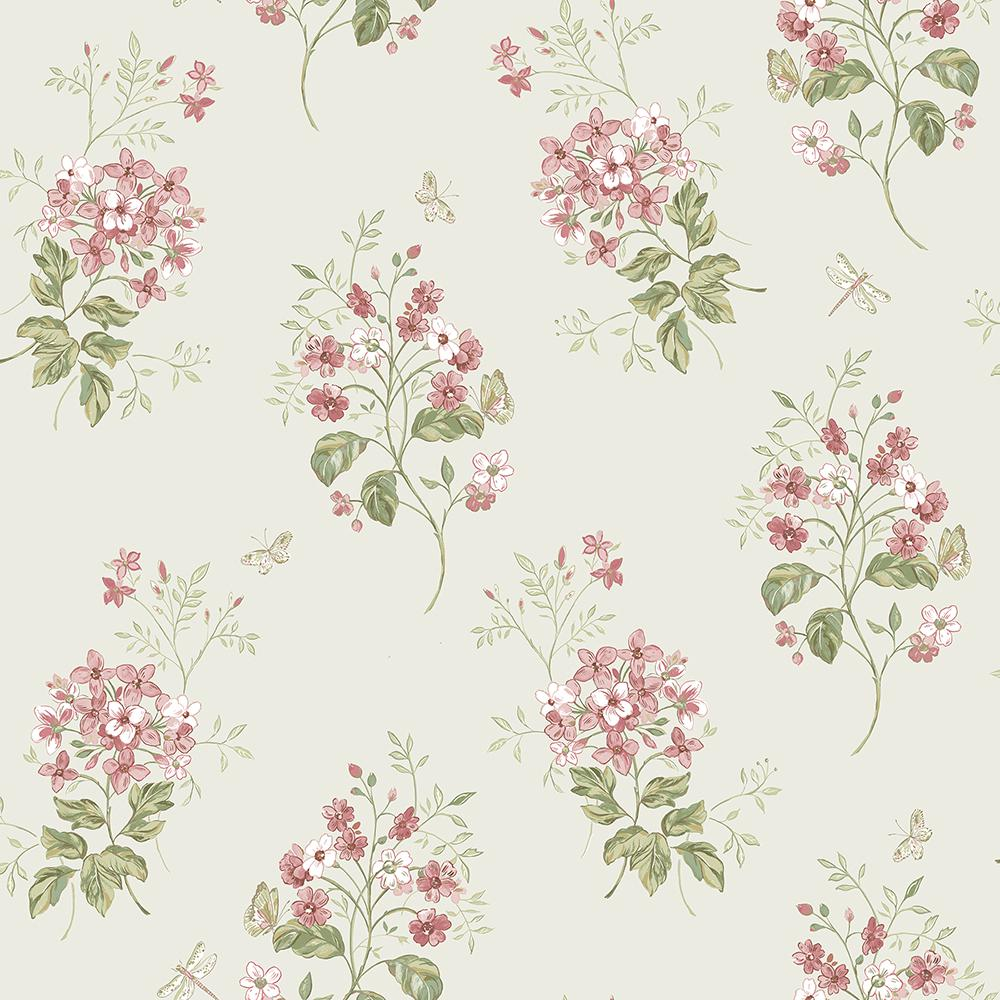 Chesapeake Beverly Pink Floral Wallpaper 3112 002701 The Home Depot