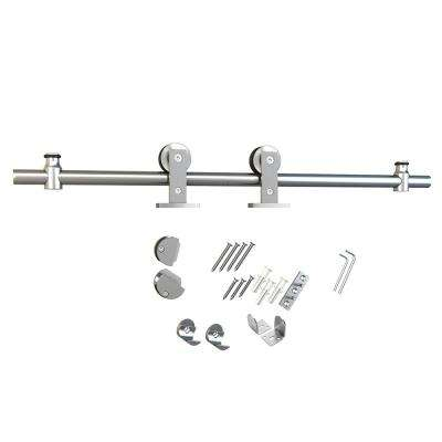 Stainless Steel Sliding Rolling Barn Door Hardware Kit for Single Wood Doors With Non-Routed Adjustable Floor Guides