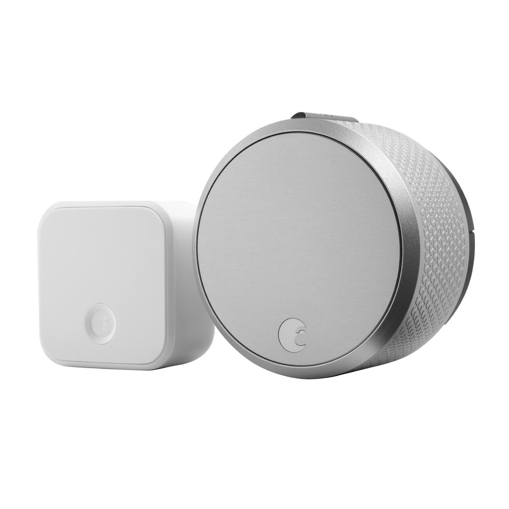 Smart Lock Pro Silver with Connect Wi-Fi Bridge Deadbolts