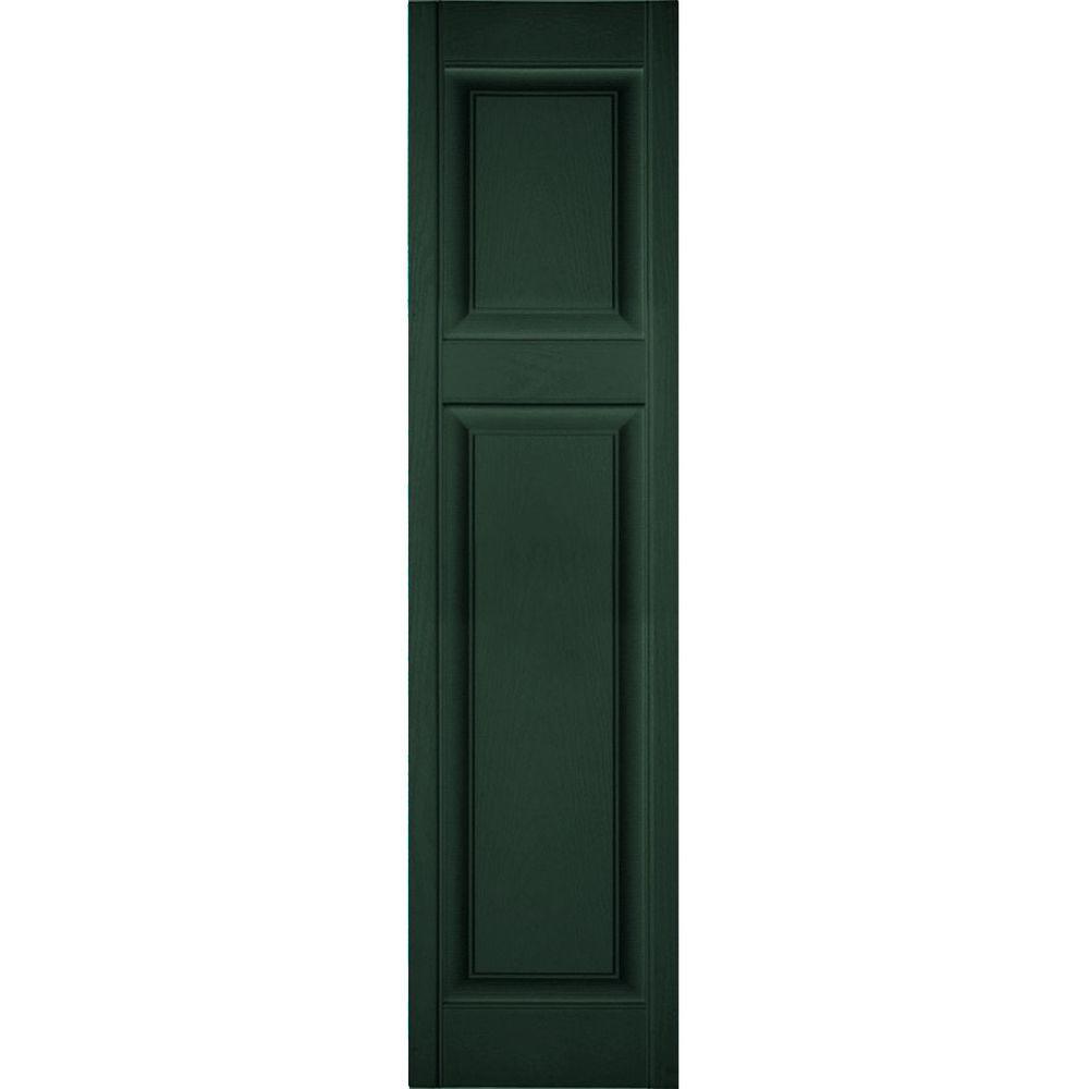 Ekena Millwork 18 in. x 83 in. Lifetime Vinyl Custom Offset Raised Panel Shutters Pair Midnight Green