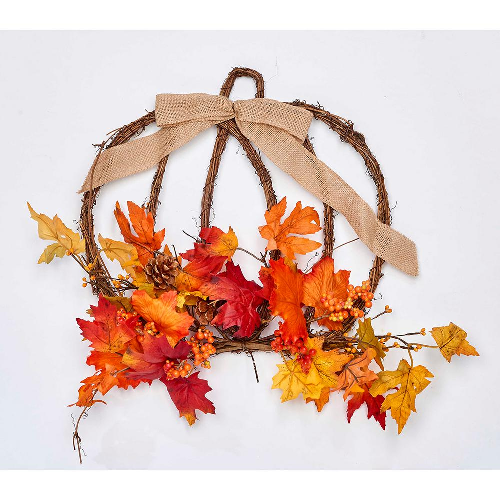 17 in. Decorated Hanging Twig Pumpkin