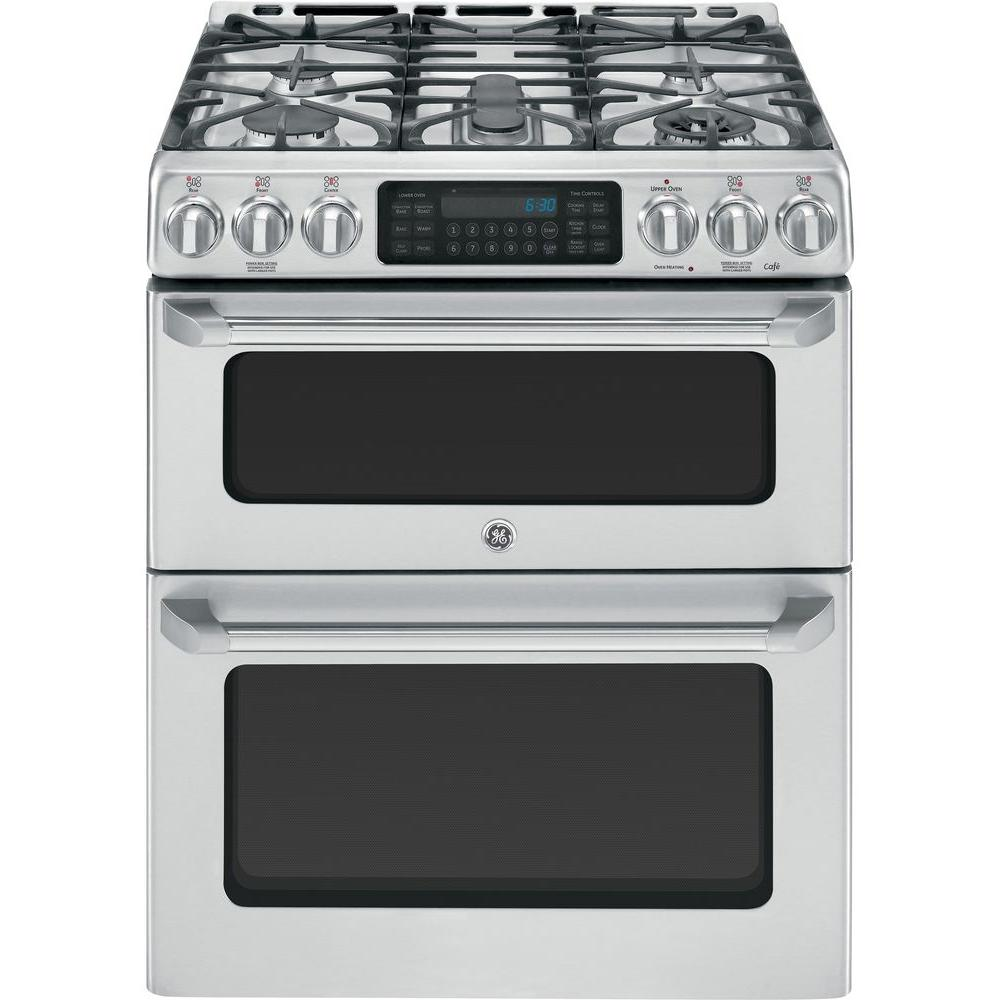 GE Cafe 6.7 cu. ft. Double Oven Gas Range with Self-Cleaning Convection Oven in Stainless Steel