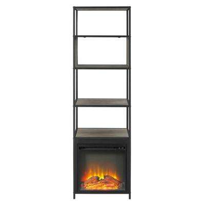 70 in. Metal and Wood Tower Fireplace Grey Wash