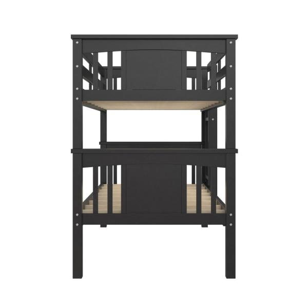 Dorel Living Dylan Twin Over Twin Wood Bunk Bed for Kids Black