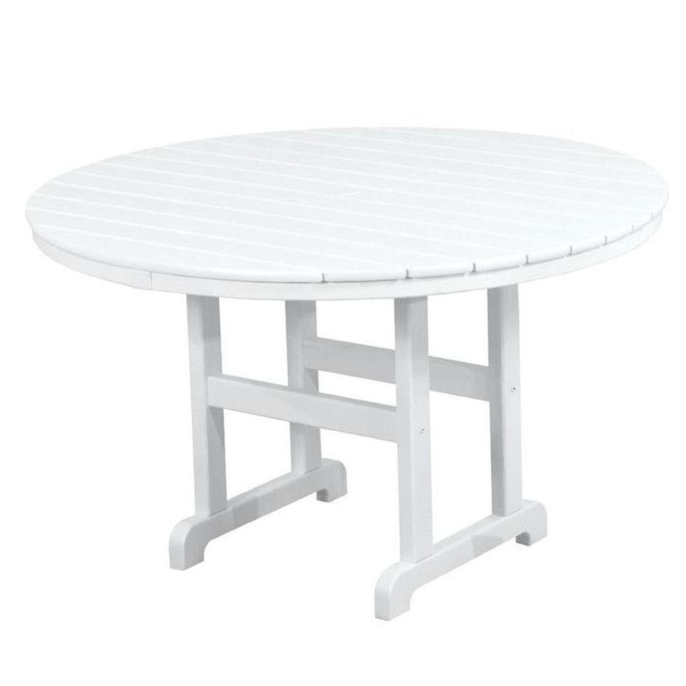 POLYWOOD La Casa Cafe 48 In. White Round Patio Dining Table