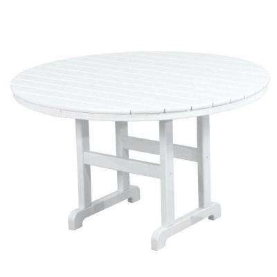 La Casa Cafe 48 in. White Round Patio Dining Table