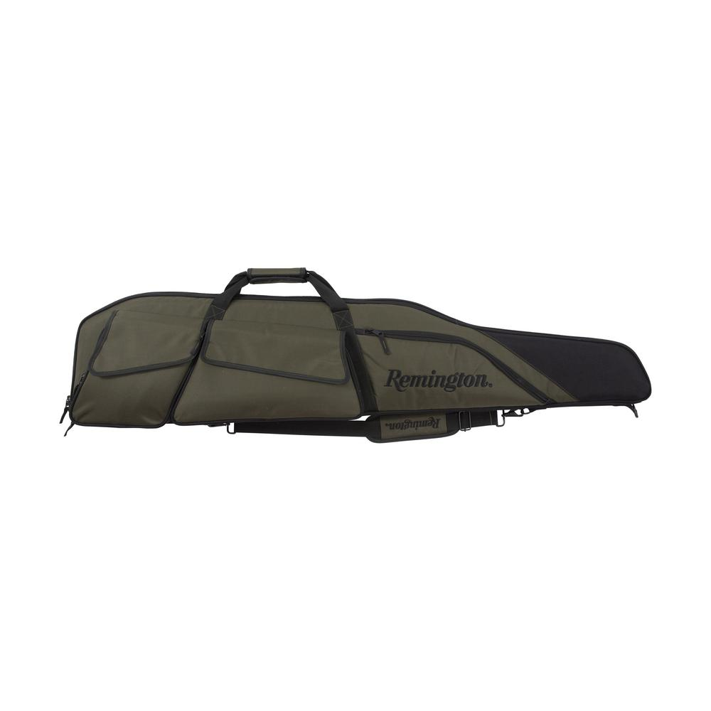 Remington 50 in. Yukon Scoped Rifle Case The Yukon Scoped Rifle case by Allen is embroidered with an officially-licensed Remington logo. The olive and black colors, combined with the extra-rugged Endura fabric ensures that this is a case you will want to carry for years. The case is oversized to fit up your 50 in. rifle, bipods and large scopes, and the multiple exterior accessory pockets will hold all your smaller items. The interior is lined with soft knit material to protect your gun, and the lockable zippers ensure that it'll stay safe as well. A removable padded sling and metal connecting hardware are included.