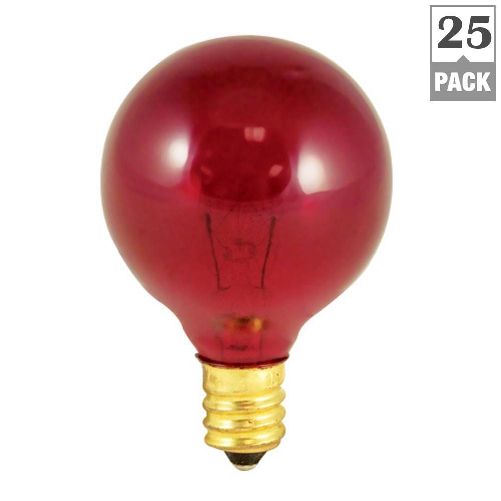 10-Watt G12 Transparent Red Dimmable Incandescent Light Bulb (25-Pack)