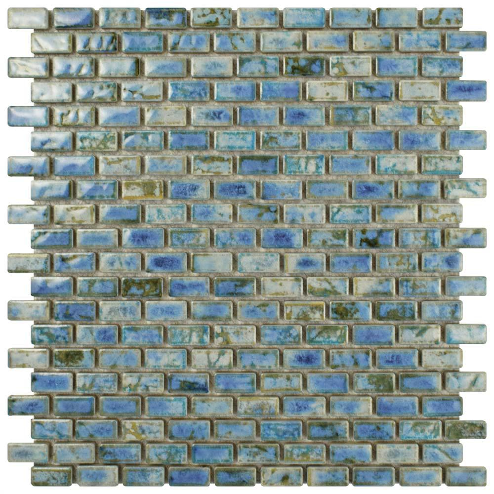 blue ceramic subway tile merola tile rustica subway neptune blue 11 3 4 in x 11 3 4803