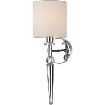 Merritt 18 in. 1-Light Chrome/Crystal Wall Sconce
