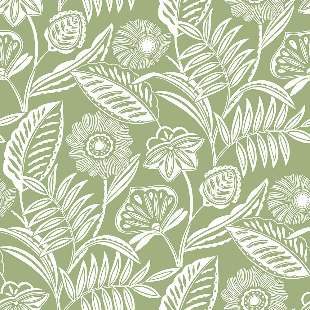 Alma Green Tropical Floral Paper Strippable Roll (Covers 60.8 sq. ft.)