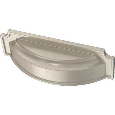 Notched Backplate 3 in. or 3-3/4 in. (76 mm or 96 mm) Satin Nickel Dual Mount Cup Drawer Pull